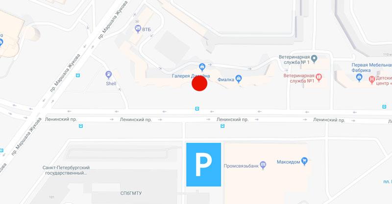 План-схема. Шоурум - красный маркер. Парковка - синяя площадь напротив через дорогу.