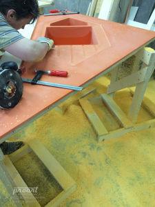 оранжевая столешница искусственный камень