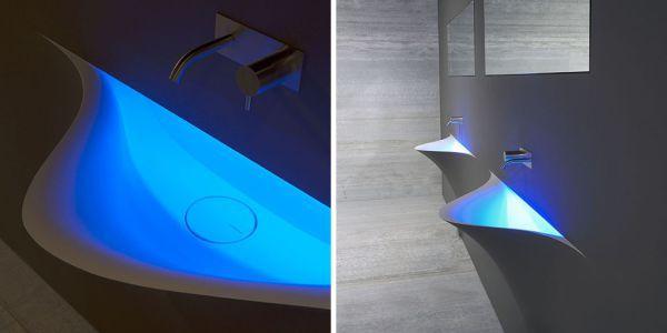 Раковина с синей подсветкой